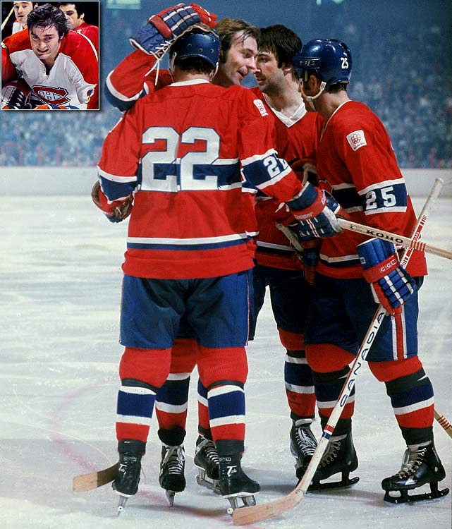 Peter Mahovlich (inset) occasionally took Lemaire's place; inspiring Shutt to call it the Donut Line because it had no firm center. Through the 1970s, the flashy Lafleur, hardnosed Lemaire and opportunistic Shutt helped the Habs win five Stanley Cups, including four in a row.