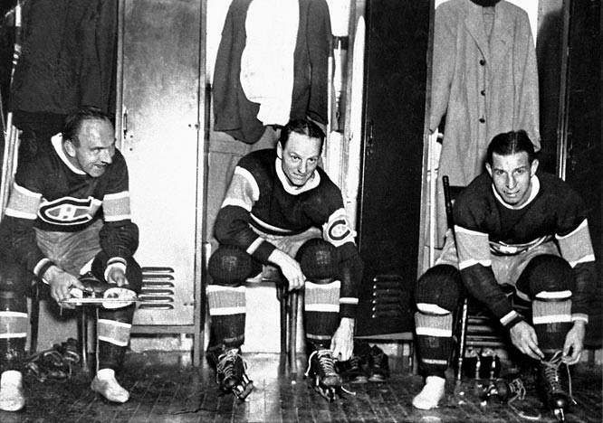 "Led by superstar center Howie Morenz (left) and left winger Aurele Joliat (center), the Habs dethroned the defending champion Boston Bruins in a two-game sweep in the 1930 final. The following season, right winger Johnny ""Black Cat"" Gagnon (right) joined the top line and the Habs repeated by downing the Chicago Blackhawks in a final that went the full five games."