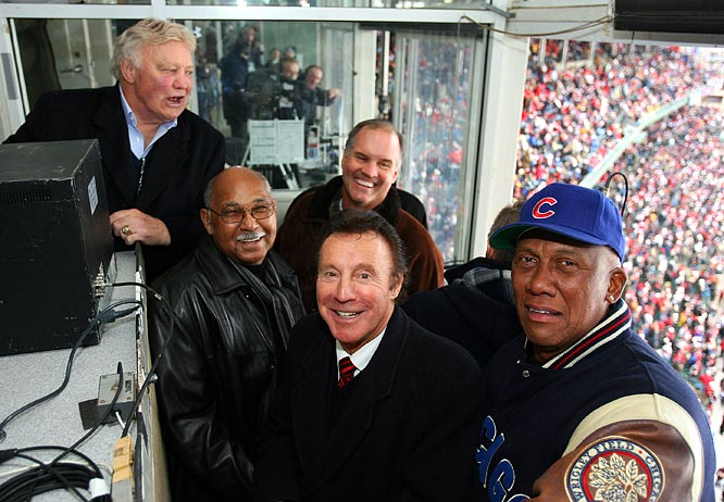 (Left to right) Former Chicago athletes Bobby Hull, Billy Williams, Ryne Sandberg, Tony Esposito, and Ferguson Jenkins enjoy the game from the booth.