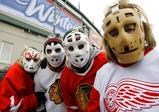 Fans in masks gather outside Wrigley Field before the game.