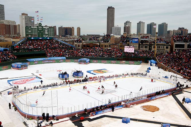 The Detroit Red Wings and the Chicago Blackhawks play out in the cold at Wrigley Field during the NHL Winter Classic on New Year's Day.