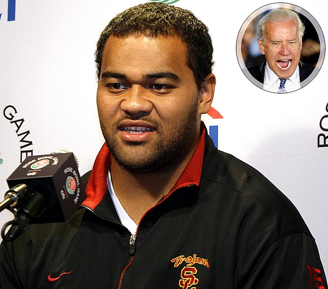 "Apparently, being a USC football player doesn't require much knowledge outside of what's in your playbook. After the Trojans devoured pounds of free prime rib and creamed corn at the annual Lawry's Beef Bowl, TMZ cameras caught up with several of them and asked them what they thought of Vice President-elect Joe Biden. Amazingly, most had never heard of Barack Obama's running mate. The best response came from All-American defensive tackle Fili Moala (left), who said, ""Who? Who's that?"" When told that Biden was the next VP, Moala replied, ""Of what? Lawry's?"""