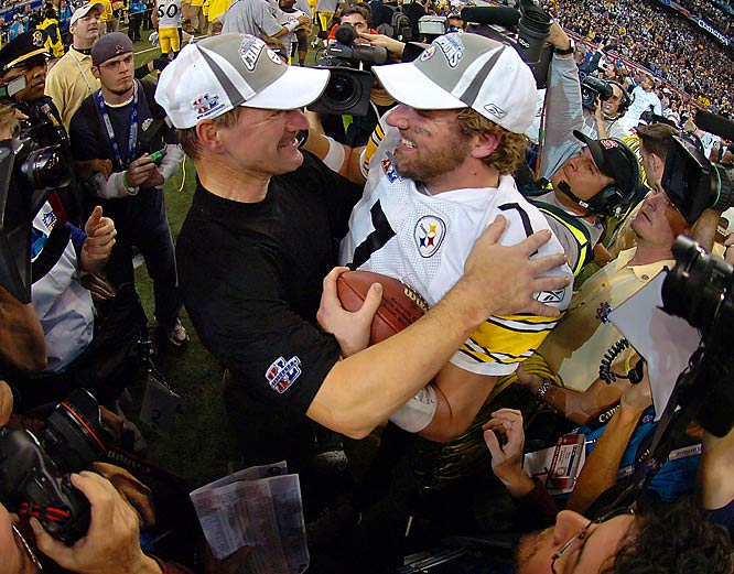 After the game, Pittsburgh coach Bill Cowher and QB Ben Roethlisberger celebrated.