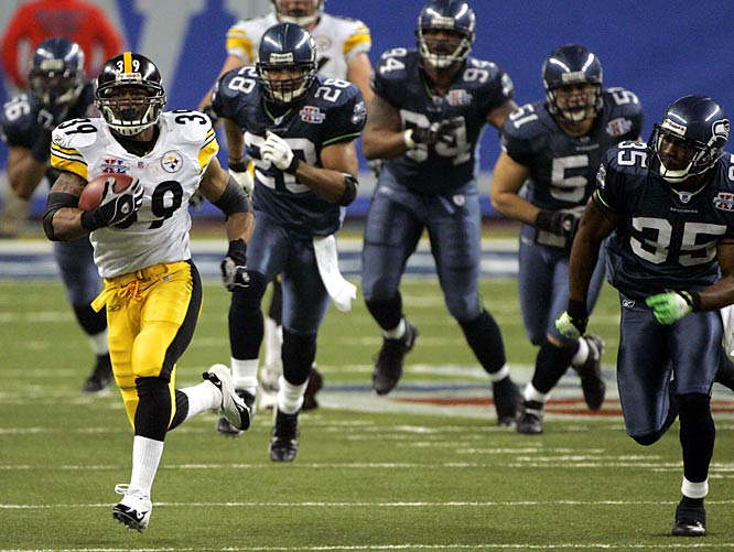 The Steelers returned to the Super Bowl in 2006, beating the Seahawks, 21-10. Pittsburgh RB Willie Parker broke the game open with this 75-yard touchdown run.