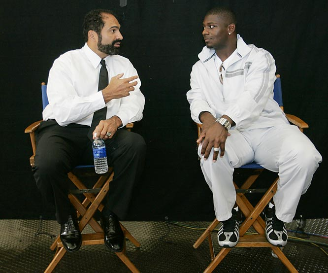 Franco Harris and LaDainian Tomlinson shoot a commercial before Super Bowl XL.