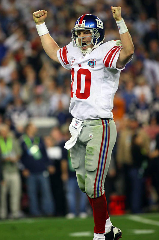 Based on raw statistical production, the quality of the opposing defense and clutch plays in big moments or against uncertain circumstances.  Eli stands alone in football lore: he's the only QB in NFL history who's led a championship-winning TD drive in the final two minutes when anything less than a TD would have meant defeat. This singular accomplishment -- highlighted by a Houdini-like escape from the clutches of the Patriots pass rush -- earns him a spot. That he also reduced to rubble a seemingly indestructible 18-0 gridiron empire in the process of the 17-14 victory adds another layer of extraordinary to what was otherwise a very ordinary game.