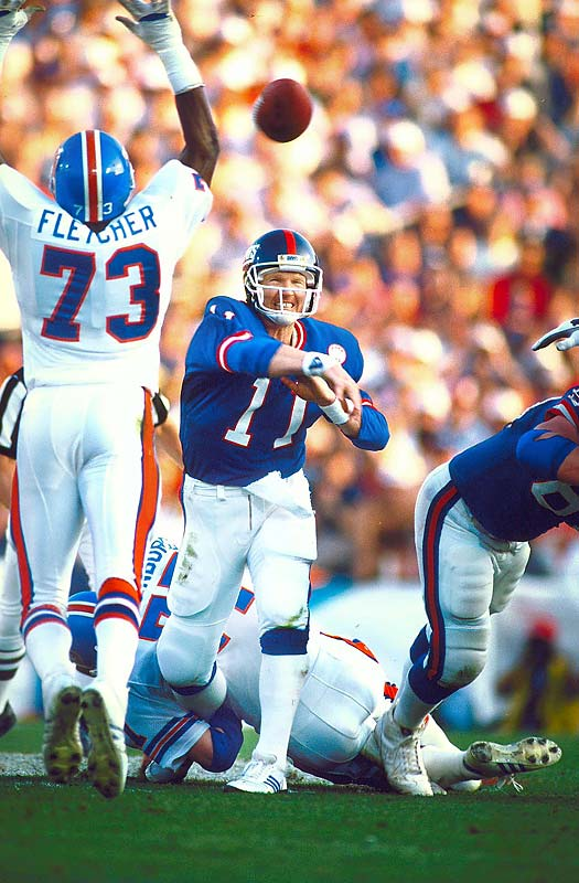 Simms was an under-achieving first-round draft pick (1979) who Giants fans tried to run out of town earlier in the 1986 season. Then on the day it mattered most, in the franchise's first Super Bowl appearance, he sparkled like the finest bottle of bubbly in the 39-20 throwdown of Denver. His 88.0 completion percentage is easily a Super Bowl record and was the best mark in postseason history until surpassed by Brady in the 2007 divisional playoffs, while his 150.9 passer rating remains the Super Bowl standard.