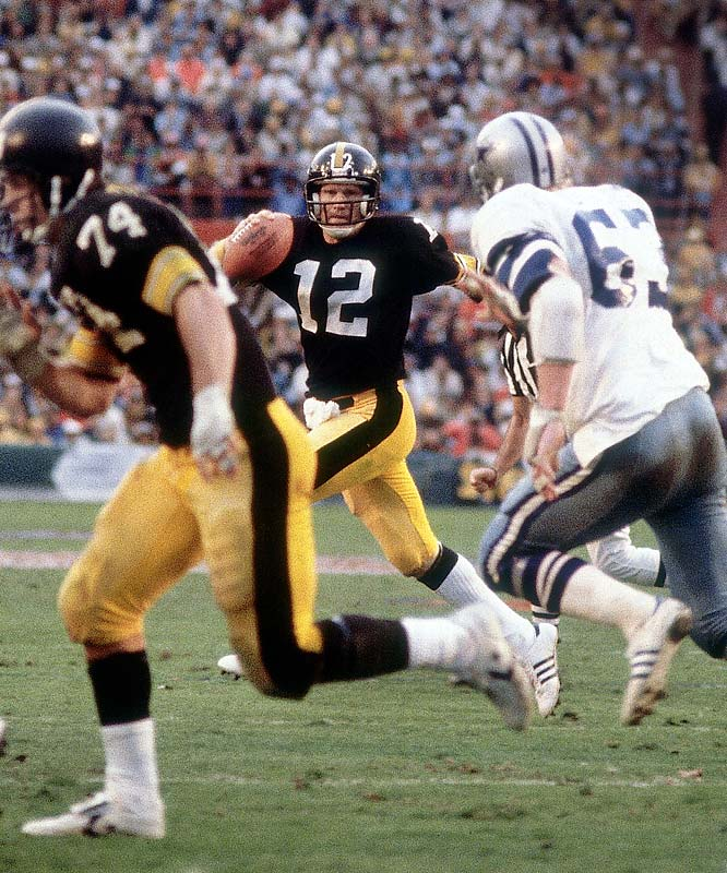 Bradshaw was low-wattage regular-season performer who routinely lit up the Super Bowl as if it were Times Square. His greatest performance (despite three turnovers) could not have come at a better time or in a bigger battle. In the signature game of the 1970s, and in a battle to determine who would go down as the team of the decade, Bradshaw lobbed one deadly bomb after another, including a 75-yard scoring strike to John Stallworth that erased Dallas's only lead and put Pittsburgh in the driver's seat of destiny. His 318 yards and four TD tosses in the 35-31 win were Super Bowl records at the time.