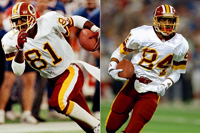 In eight years together in Washington, Art Monk and Gary Clark helped lead the Redskins to two Super Bowl victories -- a blowout win in Super Bowl XXII and a 37-24 victory over the Bills four years later. In those two games, Monk and Clark combined for 322 yards and two touchdowns, both of which were hauled in by Clark.