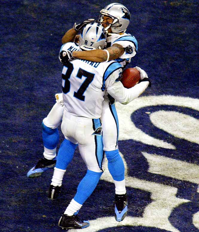 Two seasons after finishing 1-15, the Panthers rode Jake Delhomme and the speedy wide receiver duo of Steve Smith and Muhsin Muhammad to an 11-5 record and an appearance in Super Bowl XXXVIII. After combining for 1,947 yards and 10 scores during the regular season, Muhammad and Smith combined for 220 yards and two touchdowns. Their effort wasn't enough to overcome New England's 18 fourth-quarter points as the Patriots won 32-29.