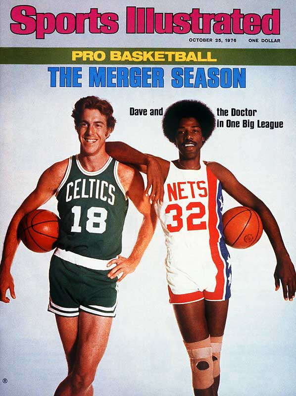 The landscape of professional basketball changed forever in 1976, when four teams from the recently disbanded ABA joined the NBA. No star was bigger than Julius Erving, seen here posing with Celtic star and defending NBA champion Dave Cowens.