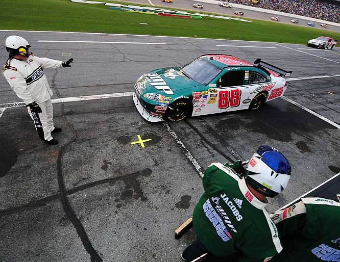 Dale Earnhardt Jr. had a bad day... he had just made his second mistake of the day in the pits under a previous caution when he pulled his Chevrolet too far out of his stall during a service stop...