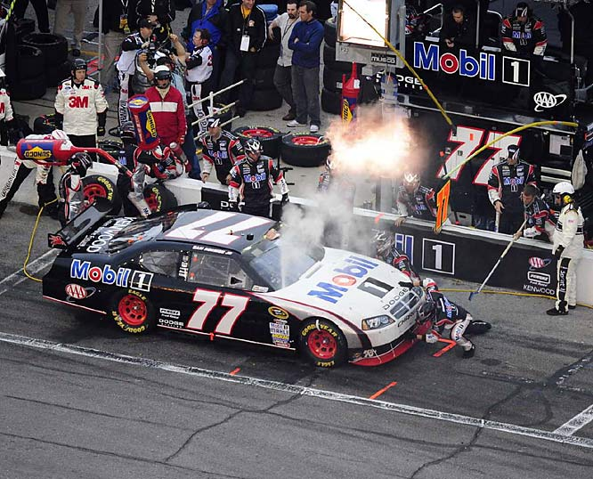 Sam Hornish Jr. stops on pit road during the rain-shortened Daytona 500. The No. 77 car finished 32nd.