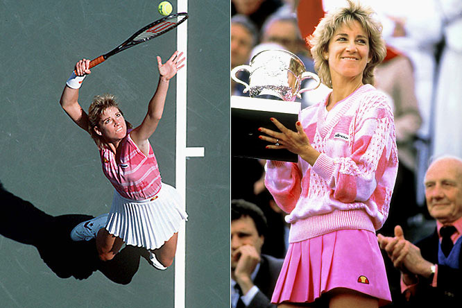 Winning 18 Grand Slam singles titles, including four straight U.S. Opens, Evert won at least one slam in 13 consecutive years (1974-86) and reached the semifinals in 52 of her 56 career Slams. After winning the French Open and Wimbledon in 1974, she remained the world's No. 1 player for much of the next five years as her rivalry with Martina Navratilova heated up.  Worthy of consideration: Lisa Andersen, Sylvia Fowles.