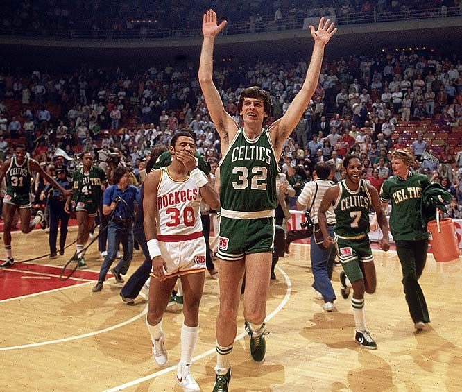 Kevin McHale celebrates after the Celtics beat Houston to win the franchise's 14th championship.