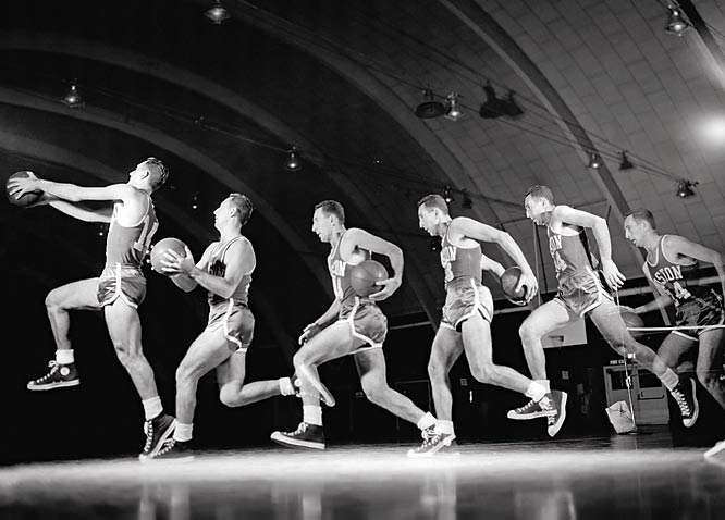 Bob Cousy, the original Houdini of the hardwood,   demonstrates the behind-the-back dribble in this multiple exposure shot.