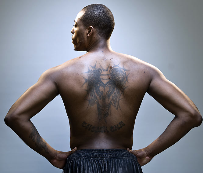 Pierce's back tattoo covers up some of the stab wounds he endured during a nightclub incident in September 2000.