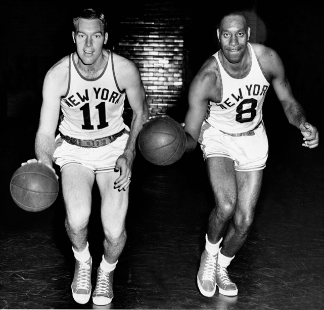 "Harry Gallatin and Nathaniel Clifton poses for a photo. Gallatin, nicknamed ""The Horse,"" played nine seasons in New York and was a seven time all-star. ""Sweetwater"" Clifton was a Knick for seven years and made on all-star team."