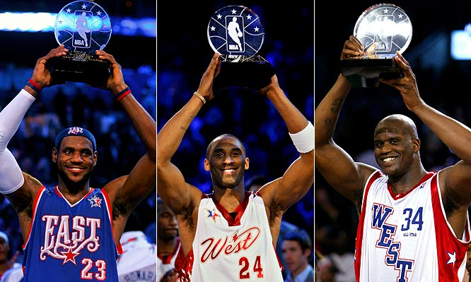 Bob Pettit, Oscar Robertson and Michael Jordan are the only players to win All-Star Game MVP honors three times (Pettit claimed four). Two-time winners LeBron James, Kobe Bryant and Shaquille O'Neal each can join that elite company this year.