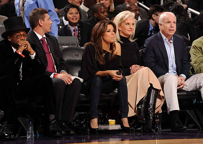 The stars were out, including Eva Longoria, who had a courtside audience with John and Cindy McCain...