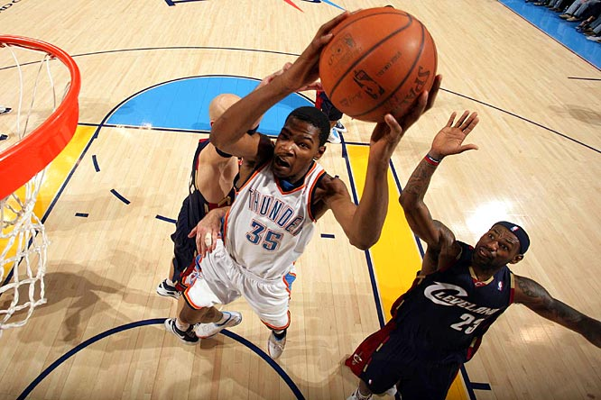 After an uneven rookie season, Durant has become a much more efficient shooter and improved his rebounding (the latter in part because of his switch from shooting guard to small forward after Oklahoma City's early-season coaching change). The No. 2 pick in the 2007 draft is averaging 25.5 points (on 48.1 percent shooting) and 6.6 rebounds.