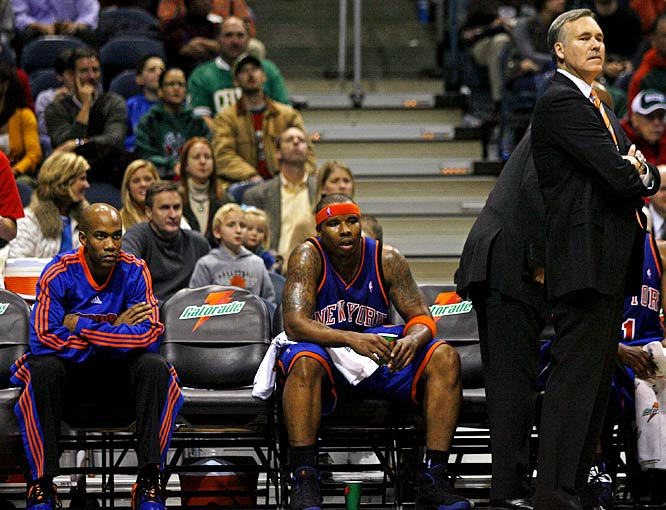 With trades and injuries having left the Knicks with only seven players, Mike D'Antoni asks Marbury to dress and offers him the opportunity to play. Marbury refuses and the Knicks lose 104-87 to Milwaukee on Nov. 26. The Knicks fine Marbury, later ban him from attending practices and games and, for a while, have no luck negotiating a contract buyout with the player.