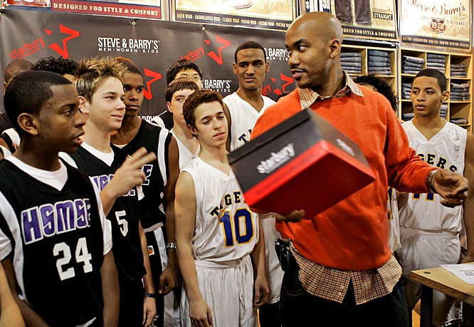 Marbury launches his Starbury line of sneakers and sportswear, designed as a low-cost alternative to the higher-priced footwear endorsed by other athletes. Every piece of clothing is under $10 and the shoes cost $14.98.