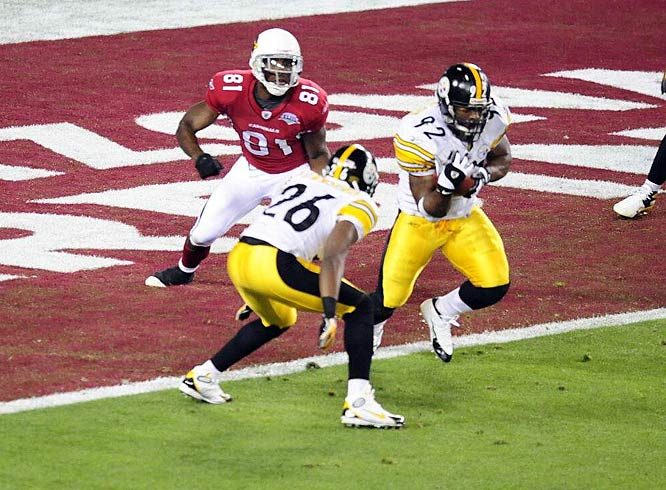 With the Cardinals threatening to erase a 10-7 deficit, James Harrison intercepted a Kurt Warner pass and returned it 100 yards for a touchdown.