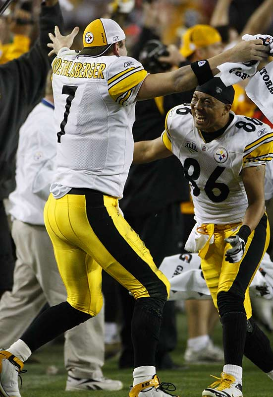 Hines Ward, the MVP of Super Bowl XL, and Ben Roethlisberger celebrate their second Super Bowl victory.