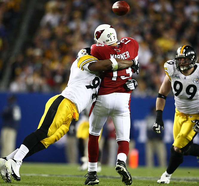 Kurt Warner was forced to get rid of the ball early several times too.