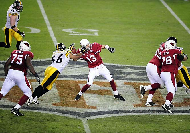 Any last-second heroics the Cardinals entertained were ruined when LaMarr Woodley forced a Kurt Warner fumble. The Steelers came up with the loose ball with five seconds remaining.