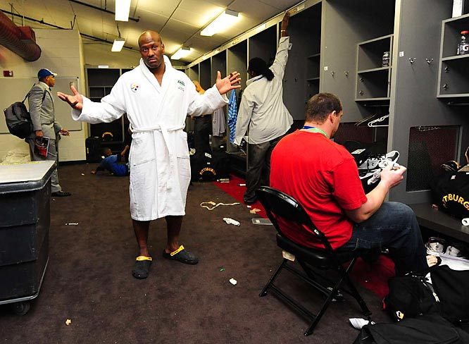 James Harrison doesn't appear to be a rush to get dressed.