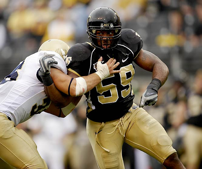 Curry is a three-down linebacker with a total game.  He led the Wake Forest defense with 105 tackles and 16 tackles for loss as a senior. He'll quickly start on the NFL level.