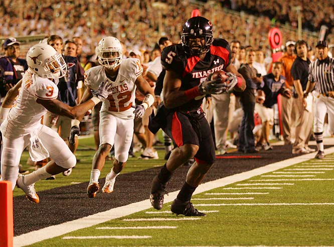 Dominant, game-controlling receiver with Calvin Johnson type ability.  Crabtree is a one-man show on the field and nearly impossible to stop. He set an NCAA freshman record with  22 touchdown receptions in '07 and leaves Texas Tech with a total of 42 scoring catches.