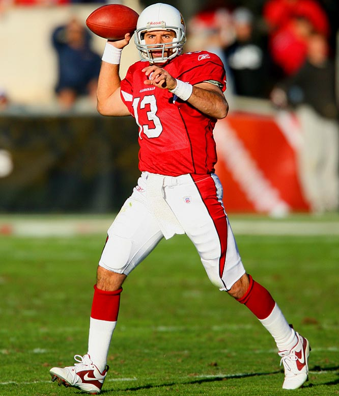 In 2005, the Arizona Cardinals signed the veteran quarterback to a one-year, $4 million deal that would eventually turn into a four-year stint. Despite having to consistently battle for the starting job, Warner helped turn the Cardinals' 2005 offense into the league's No. 1 ranked passing attack, and in 2008 led the team to the first Super Bowl appearance in franchise history. He threw for a gaudy 4,583 passing yards and 30 touchdowns last season.