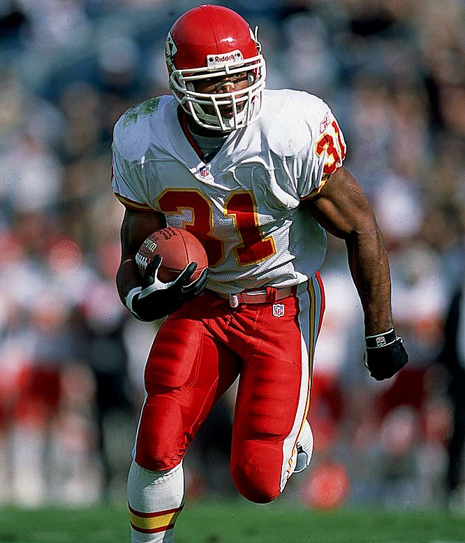 The Chiefs signed Holmes away from the Ravens in 2001 for a very inexpensive contract, considering the star running back's lofty achievements in K.C. In 2002 and 2003, Holmes ran for a combined 48 touchdowns and was the most dominant running back in the game.