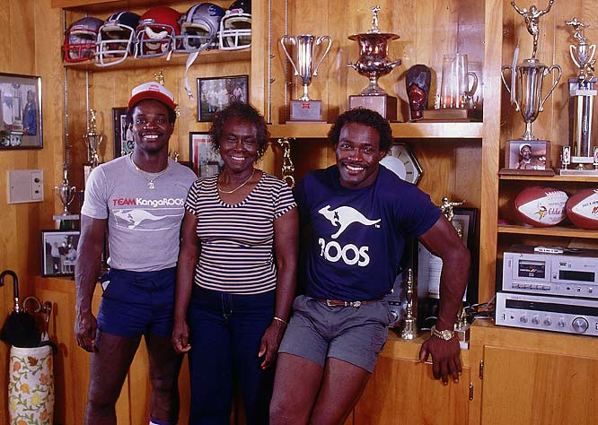 Pictured here with his brother Eddie and mother, Alyne, Payton was an accomplished dancer and chess player off the field. He was also a notorious practical joker and racing enthusiast.