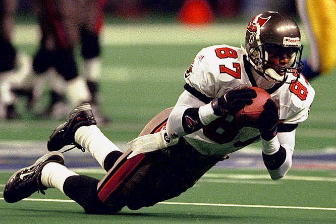 The Bucs followed up the blunder of signing Alvin Harper by replacing him with yet another bust.  Emanuel signed for $4 million a year after three straight 65-reception seasons in Atlanta, buthis production dropped sharply. He caught 41 balls in 1998, only 21 in 1999, and was released after those two seasons.