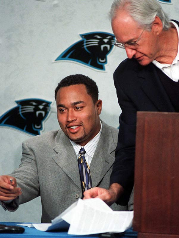Poor Chuck Smith inherited the curse of Nate Odoms when he agreed to a five-year, $21 million deal with the Panthers.  Smith, who finished his career in Atlanta as the franchise's all-time leader in sacks (58.5), played only two games for the Panthers. Hampered by a knee injury, he retired at the end of the season.