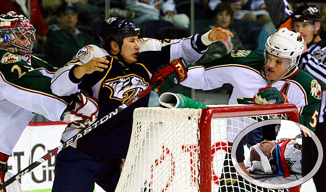 The first Inuit to play in the NHL, Tootoo (5-9, 194) brings wild abandon to the ice. Tougher than freeze-dried moose -- he received a five-game suspension in March 2007 for knocking out and concussing Stephane Robidas (inset) of the Stars with one punch -- and prone to going over the top, the Predators nevertheless appreciate his grit and fire. They rewarded him with a two-year contract extension in Jan. 2008.