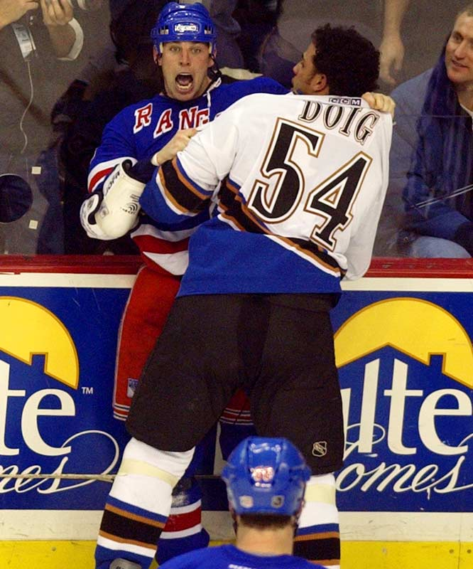 From Buffalo (where he led the league in PIM during his first full season, 1995-96), to Pittsburgh, Tampa Bay, New York (Rangers), Colorado, Chicago and Dallas, the 6-0, 190-pound winger won hearts (teammates and fans, of course) with his in-your-face style. Like Tiger Williams, he may not have been the best pugilist on the ice, but he always relished a scrap, usually one that he had sparked with his fingernails-on-the-blackboard tactics.