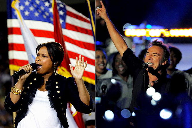 Jennifer Hudson's emotional rendition of the National Anthem, in her first public appearance since her mother, brother, and nephew were murdered in their Chicago home, might have been the best and most emotional rendition of the Anthem ever sung at the Super Bowl. It's right up there with Whitney Houston in 1991. And Bruce Springsteen didn't disappoint in putting on possibly the best halftime show ever.