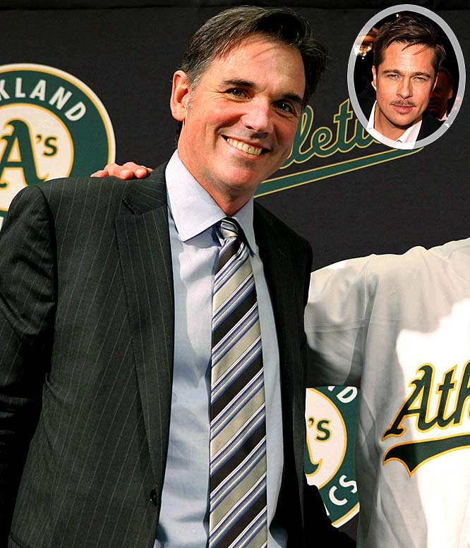 Beane's reputation (and ego) may be getting a huge boost if a proposed Steven Soderbergh film based on Michael Lewis's book Moneyball: The Art of Winning An Unfair Game is made. Not only will Beane's philosophy for building a baseball team hit the big screen, but also Brad Pitt is reportedly in line for the role to play Beane. What? Leonardo DiCaprio and George Clooney weren't available to play the role of a baseball general manager.