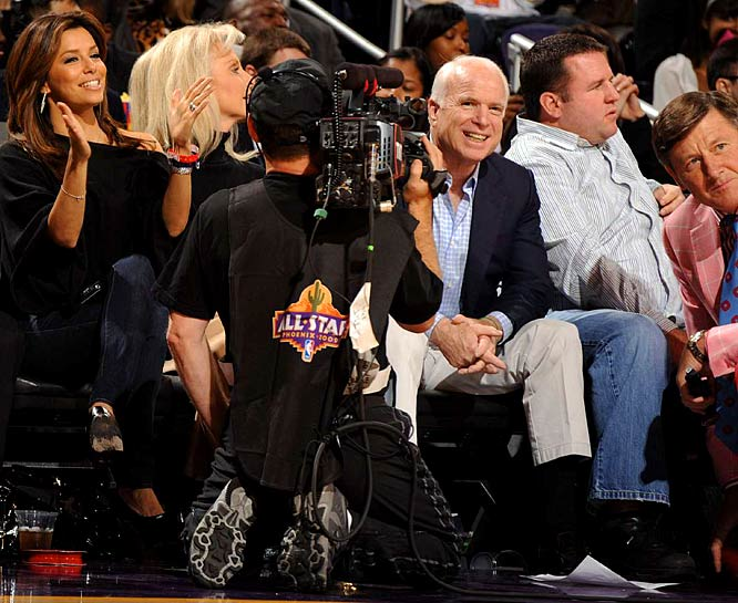 If losing the election wasn't bad enough, McCain was booed by his hometown fans at the US Airways Center when he was shown on the Jumbotron sitting courtside at the All-Star Game. Considering the likes of Donald Faison and Michael Rapaport got cheered, that's got to hurt.