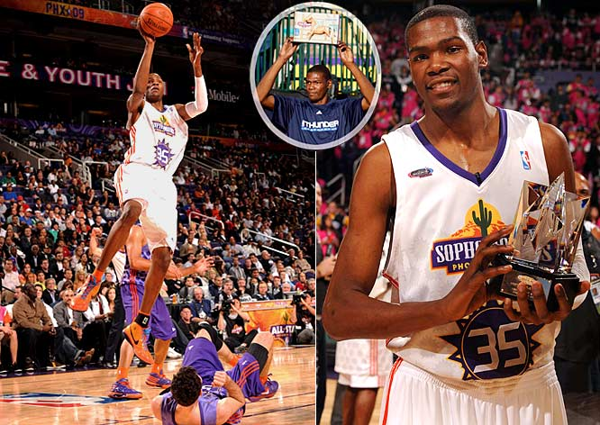 "The star of All-Star Friday and Saturday afternoon was Durant, who scored a record 46 points in the Rookie Challenge game and won the inaugural H-O-R-S-E competition, coming back from being one letter away from elimination to knock off O.J. Mayo, who had no letters at the same time. Durant, holding a toy horse after winning the H-O-R-S-E competition, however, knew his moment in the sun would be short lived. ""You'll forget about me after the dunk contest and the All-Star game,"" he said. Durant, as he was during the weekend, was right on the money."