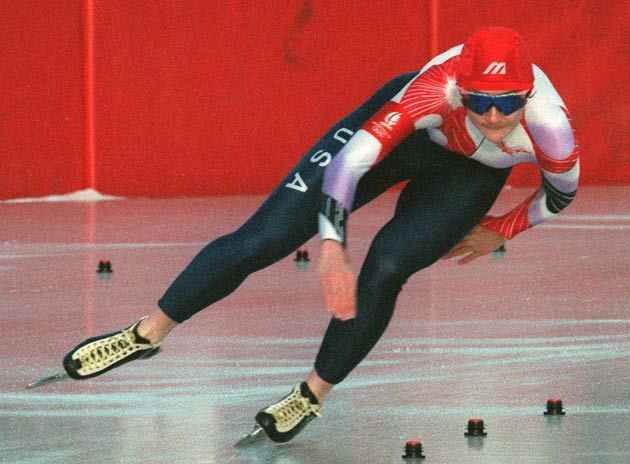 Bonnie Blair sets a new speed skating record in the 500 meters (38.69 sec).