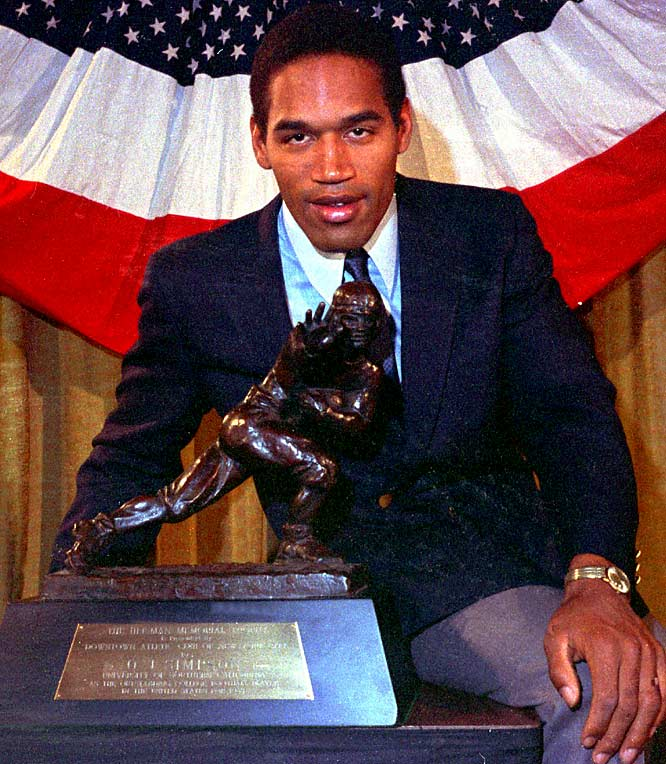 O.J. Simpson's 1968 Heisman Trophy is sold for $230,000. A court judgment ordered the trophy to be sold to help settle a $33.5 million civil judgment against Simpson for the deaths of his ex-wife and her friend.