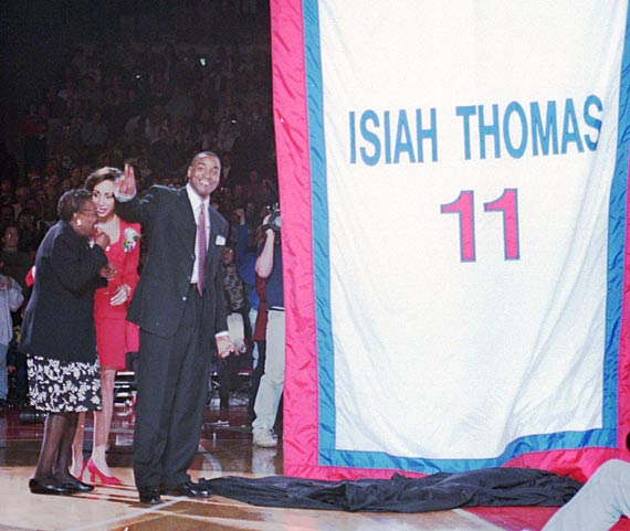 In a pregame ceremony at the Palace of Auburn Hills, the Detroit Pistons retire the No. 11 jersey of Isiah Thomas.