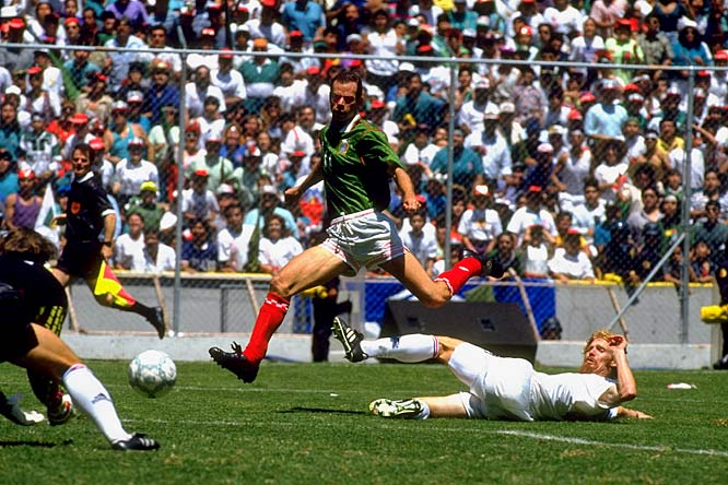 "On a hot summer afternoon, a promising U.S. team was reduced to rubble in front of more than 100,000. The Americans never adjusted to the altitude and smog of Mexico City and no idea the impact the size of the enormous crowd would have against them. El Tri danced all over the U.S., including a pair of goals from Luis Roberto ""Zague"" Alves (pictured), and the jinx of the dreaded Estadio Azteca was born -- the U.S. still has never won there."