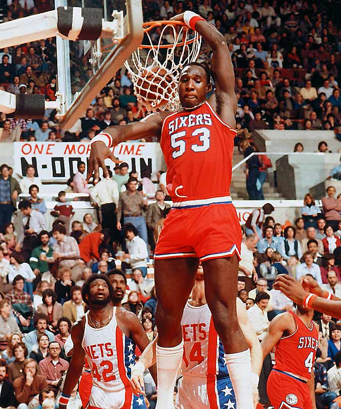 Darryl Dawkins slams it home against New Jersey.